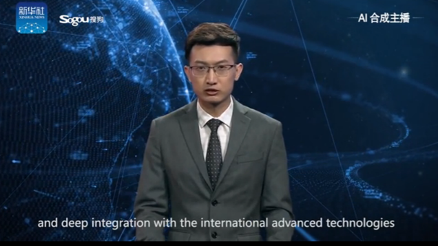 Xinhua's first English AI anchor makes debut_fororder_机器人1
