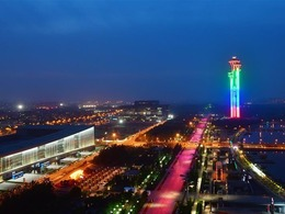 Roads and buildings illuminated before Conference on Dialogue of Asian Civilizations in Beijing