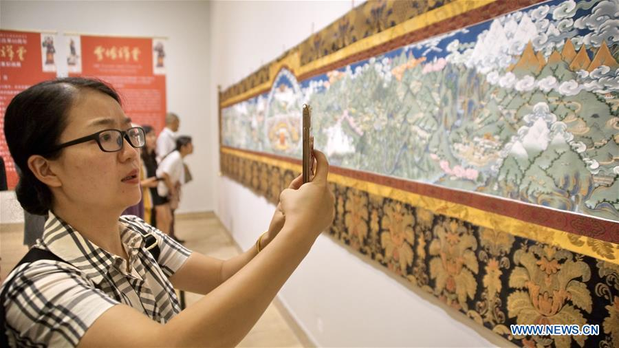 Artwork themed with Tibetan traditional features displayed in Beijing