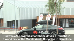 China's Huawei used the AI on its smartphone to drive a sports car during the Mobile World Congress in Barcelona