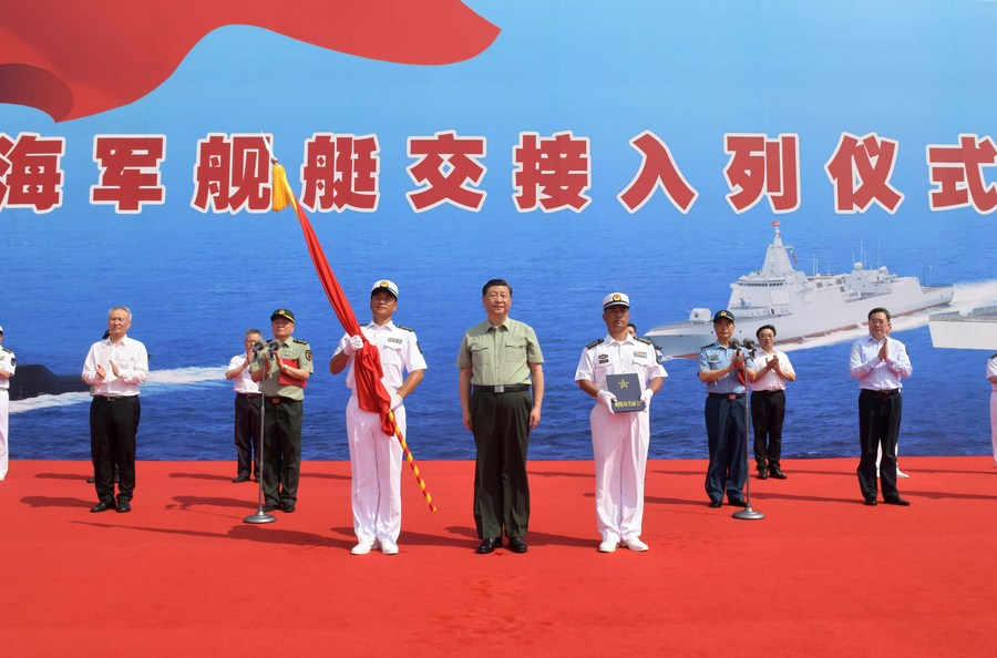 شي يحضر مراسم تشغيل سفن بحرية صينية_fororder_139903320_16192635115601n